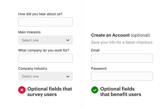 Campos opcionales que debe eliminar en su formulario