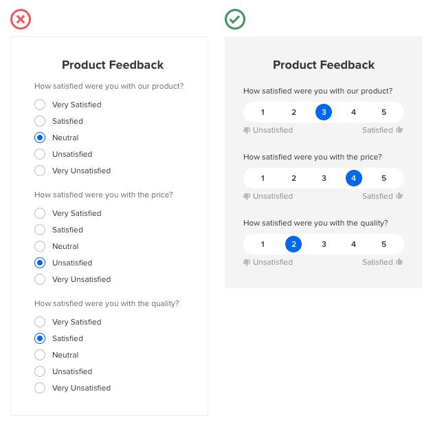 Cuándo mostrar los botones de opción en formato escalado