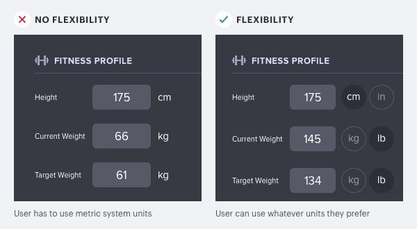 Principio de flexibilidad aplicado a formularios y menús.